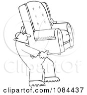 Clipart Outlined Furniture Repo Or Delivery Man Carrying A Chair Royalty Free Vector Illustration