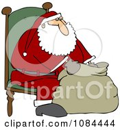 Santa Sitting In A Chair And Looking Into His Bag