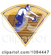 Clipart Retro Roofer Applying Shingles Royalty Free Vector Illustration by patrimonio