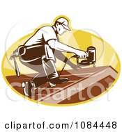 Clipart Retro Roofer Nailing Shingles Royalty Free Vector Illustration