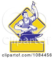 Clipart Retro Blacksmith With Pliers And An Anvil With Copyspace Royalty Free Vector Illustration