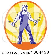 Clipart Retro Electrician Holding Bolts In An Oval Of Rays Royalty Free Vector Illustration by patrimonio