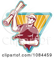 Clipart Retro Carpenter Holding Blueprints And A Hammer Royalty Free Vector Illustration
