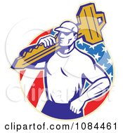 Clipart Retro Locksmith Carrying A Key Over An American Circle Royalty Free Vector Illustration by patrimonio