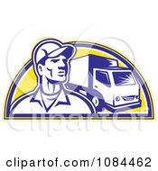 Clipart Retro Delivery Man And Truck Royalty Free Vector Illustration by patrimonio