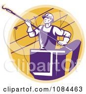 Clipart Retro Purple Lineman Working On Power Cables Royalty Free Vector Illustration by patrimonio