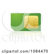 Clipart 3d Green And Gold Cell Phone SIM Card Royalty Free Vector Illustration