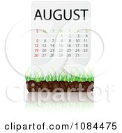 Clipart AUGUST Calendar With Soil And Grass Royalty Free Vector Illustration