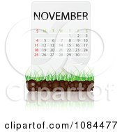 Clipart NOVEMBER Calendar With Soil And Grass Royalty Free Vector Illustration