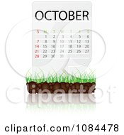 Clipart OCTOBER Calendar With Soil And Grass Royalty Free Vector Illustration