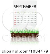Clipart SEPTEMBER Calendar With Soil And Grass Royalty Free Vector Illustration