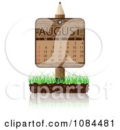 Clipart Wooden Pencil AUGUST Calendar Sign With Soil And Grass Royalty Free Vector Illustration