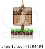 Clipart Wooden Pencil JANUARY Calendar Sign With Soil And Grass Royalty Free Vector Illustration
