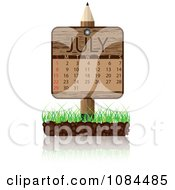Clipart Wooden Pencil JULY Calendar Sign With Soil And Grass Royalty Free Vector Illustration