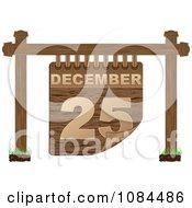 Clipart 3d Wooden December 25 Christmas Calendar Sign Royalty Free Vector Illustration