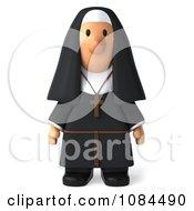3d Nun Standing And Facing Forward