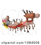 Clipart 3d Doctor Santa With Flying Reindeer And Sleigh 2 Royalty Free CGI Illustration