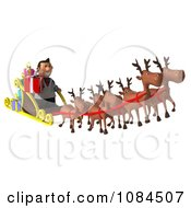 Clipart 3d Doctor Santa With Flying Reindeer And Sleigh 1 Royalty Free CGI Illustration