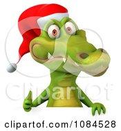 Clipart 3d Christmas Crocodile Holding A Sign Royalty Free CGI Illustration