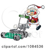 Clipart Santa Pushing A Lawn Mower Royalty Free Vector Illustration by Dennis Holmes Designs