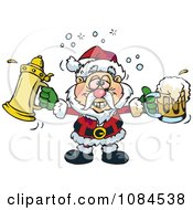 Clipart Drunk Santa Holding Pints Of Beer Royalty Free Vector Illustration by Dennis Holmes Designs