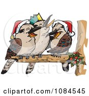 Clipart Aussie Christmas Kookaburras Laughing Royalty Free Vector Illustration by Dennis Holmes Designs