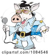Clipart Elvis Piggy Dancing And Shaking Royalty Free Vector Illustration