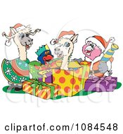 Clipart Christmas Llamas And Parrots Opening Gifts Royalty Free Vector Illustration