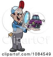 Auto Mechanic Inspecting A Small Car With A Magnifying Glass