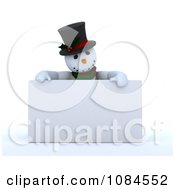 Clipart 3d Frosty The Snowman Over A Blank Sign Royalty Free CGI Illustration