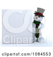 Clipart 3d Frosty The Snowman Presenting A Blank Sign Royalty Free CGI Illustration
