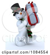 Clipart 3d Frosty The Snowman Carrying Christmas Gifts Royalty Free CGI Illustration
