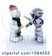 Clipart 3d Robot Putting A Carrot Nose On A Snowman Royalty Free CGI Illustration