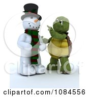 3d Christmas Tortoise Finishing A Snowman