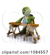 Poster, Art Print Of 3d Carpenter Tortoise Using A Saw Horse