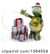 Clipart 3d Christmas Tortoise Presenting Gifts Royalty Free CGI Illustration