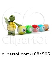 Clipart 3d Tortoise Waving By Bingo Balls Royalty Free CGI Illustration by KJ Pargeter
