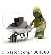 3d Construction Tortoise Pushing Cinder Blocks In A Wheelbarrow