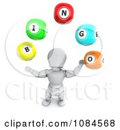 Clipart 3d White Character Juggling Bingo Balls Royalty Free CGI Illustration by KJ Pargeter