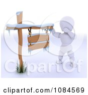 3d White Character By A Snow Covered Wood Sign