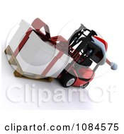 Clipart 3d Christmas Delivery Gift On A Forklift Royalty Free CGI Illustration