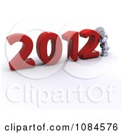 Clipart 3d Robot Pushing 2012 New Year Together Royalty Free CGI Illustration