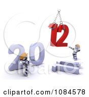 Clipart 3d Robots Assembling A 2012 New Year Royalty Free CGI Illustration