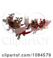 Clipart 3d Happy Reindeer Flying Santas Sleigh Royalty Free CGI Illustration