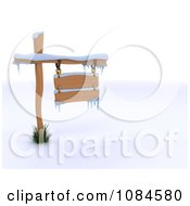 Clipart 3d Snow Covered Winter Sign Royalty Free CGI Illustration