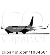 Clipart Black And Gray Commercial Airplane 7 Royalty Free Vector Illustration