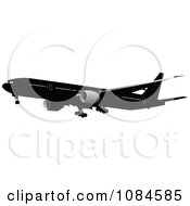 Clipart Black And Gray Commercial Airplane 1 Royalty Free Vector Illustration