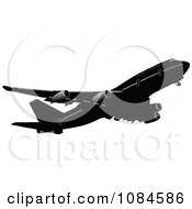 Clipart Black And Gray Commercial Airplane 2 Royalty Free Vector Illustration