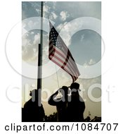 Soldiers Saluting The American Flag Free Stock Photography