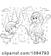 Outlined Boy And Girl Having A Snowball Fight